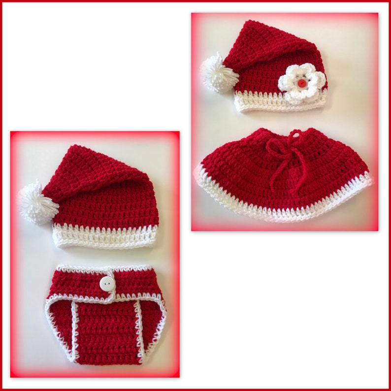 9a30ac4e2 SALE - Santa baby hat or outfit or Mrs. Claus baby outfit - 0-3 months,  newborn - photo props diaper cover Christmas baby
