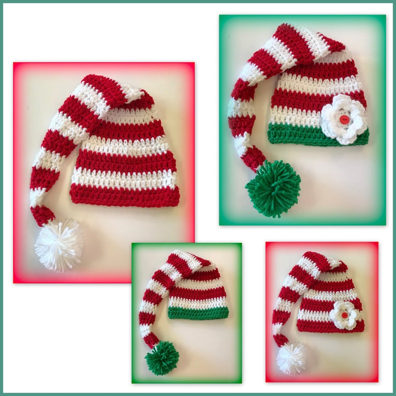 2cf0c017a Elf baby hat or outfit long tail hat Christmas striped hat 0-3 months  newborn baby boy or girl flower Santa Mrs Claus