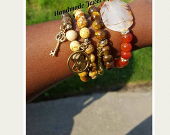 Earth Tone Beauties! Brown/Tan/Orange. Charm Bracelets. Stacking Bracelets. Boho Style. Beautifully Handmade Gift For! Set Of 4!