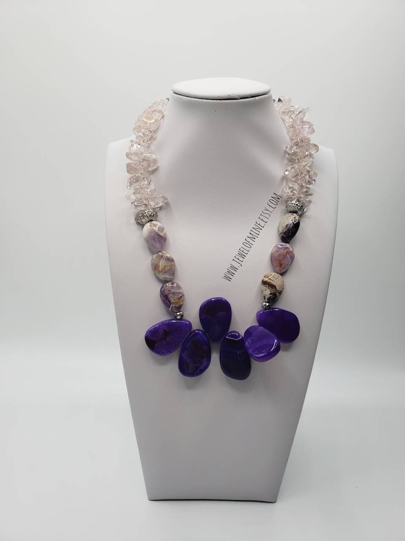 Gorgeous Amethyst Beautifully Handmade Gift For Her. Purple And Pink Necklace WeddingsBirthdaysShowers Agate And Quartz Necklace Set