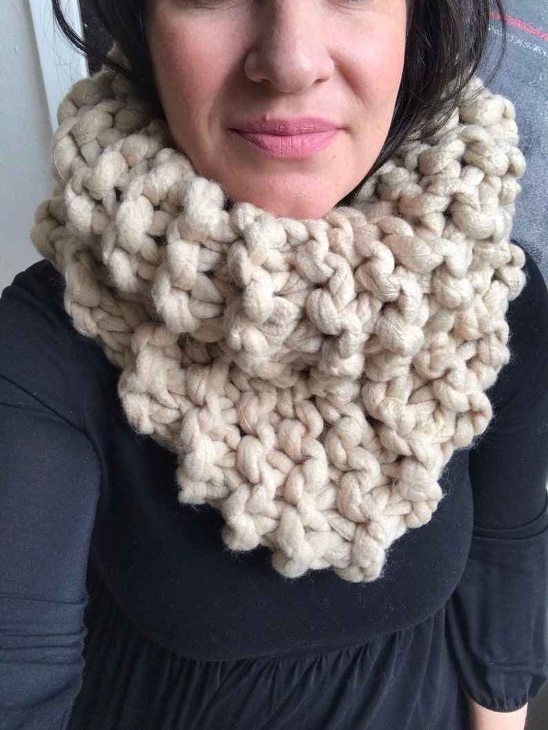 Super chunky knit cowl scarf in camel/cowl/scarf/camel/neutral image 0