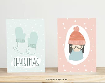 Digital / Printable set of 6 cards + envelopes Soft Christmas