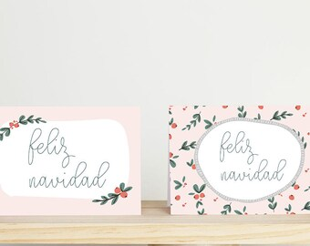 Digital / Printable set of 4 cards + envelopes Green Christmas