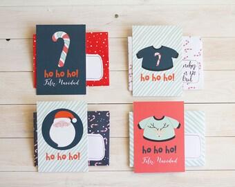 Digital / Printable set of 4 cards + envelopes Santa Claus