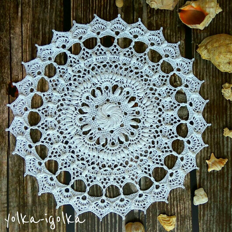 White crochet doily Round 33 cm / 13. Crocheted Doily. image 0