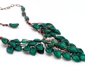 Teal Green Bib Necklace with leaves, Emerald Green Beaded Necklace