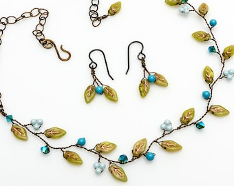 Green and Blue Beaded Necklace Set, Green and  Blue Leaf Necklace with Earrings,  Vine Necklace. Floral Jewelry, Nature Jewelry N527