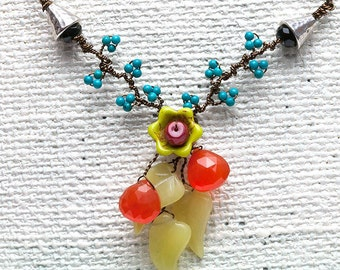 Southwestern Boho Necklace, Orange Green Turquoise Bib Necklace,  Turquoise Jade Carnelian Flower Necklace with a theme of Nature Jewelry