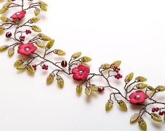 Green and Pink Hair Vine,  Boho Style Hair Piece, Flower Wedding Accessories, Floral Bridal Hair Vine