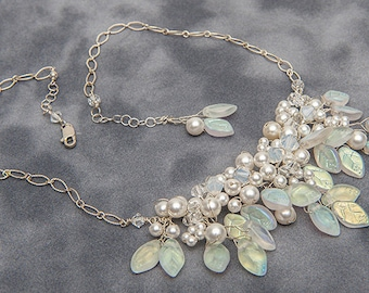 White Bridal Necklace , White Floral Wedding Jewelry, White Leaf Bib Necklace, White Winter Jewelry, Bridal Accessories