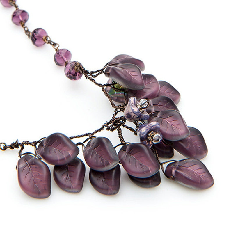 Purple Flower Necklace Elegant Nature Jewelry Purple Beaded Necklace Leaf Necklace