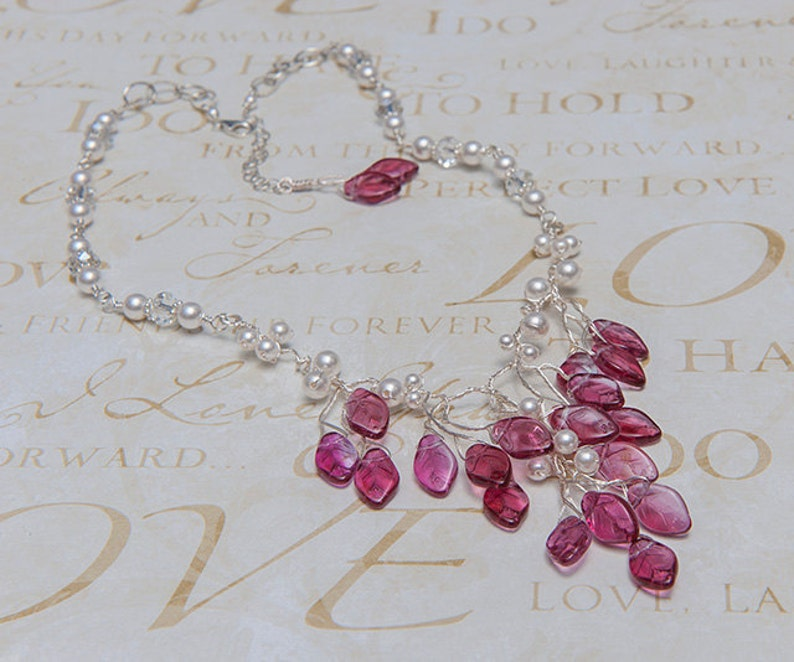 Prom Necklace Beaded Flower Necklace Nature Jewelry N342 Pink Beaded Bridal Necklace Bib Necklace