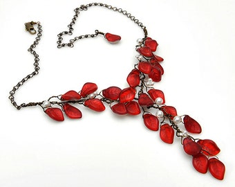 Red Statement Necklace, Red Y Necklace, Red Leaf Necklace, Red Floral Nature Jewelry, Bridal Necklace, Wedding Jewelry,
