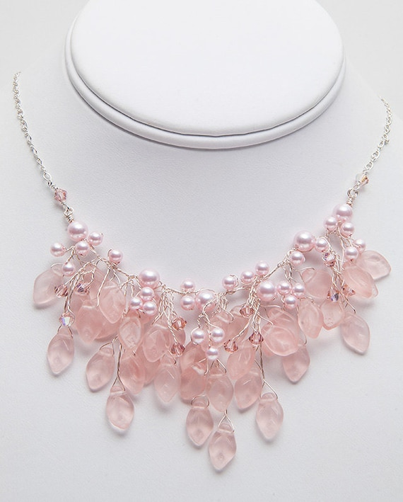 Pink Bridal Necklace Floral Jewelry Pink Bib Necklace Pink Etsy