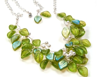 Green Beaded Necklace, Green Leaf Necklace, Floral Jewelry Green Bib Necklace, Green Bridal Necklace,  Nature Jewelry, Green Wedding Jewelry