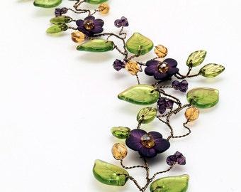 Green Purple Flower Bridal Hair Vine, Purple Hair Vine, Wedding Hair Accessories, Boho Hair Crown, Rustic Wedding Hair Jewelry, HV135