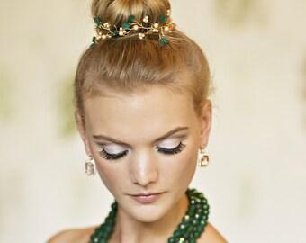 Emerald Green Hair Vine, Teal Hair Vine, Leaf Hair Vine, Teal Hair Piece, Wedding Accessories, Bridal Hair Accessories, Nature Jewelry HV113