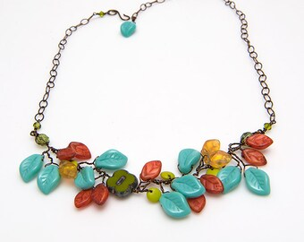 Turquoise Green Glass Flower Necklace, Beaded Leaf Necklace, Turquoise Vine Necklace