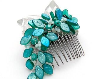 Teal Bridal Hair Comb, Wedding Hair Accessories, Hair Piece, Bridal Access Hair Accessories with leaves