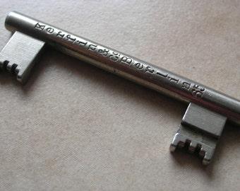 Double Sided Key, Vintage Berliner Key, Steel Forced Locking Key, Unique to Berlin Germany, Berlin Key with writing, Steampunk Key