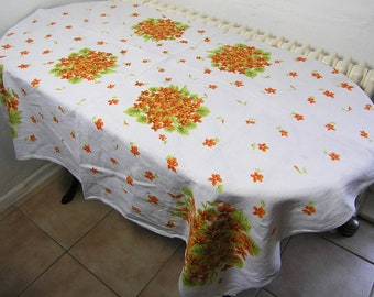 Vintage Rectangular Tablecloth, Retro Floral Cotton Tablecloth, Vintage Table Linens with Flowers