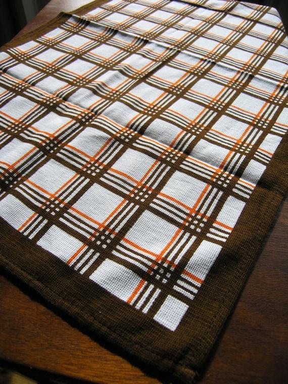 Plat Vintage tissu, brun Orange torchon à carreaux, rétro rayé torchon,  torchon coton des années 1970, Malimo Made in RDA - Allemagne de l'est