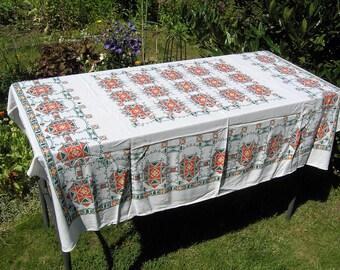 Vintage Tablecloth, Large Retro Floral Tablecloth, Vintage Cotton Tablecloth