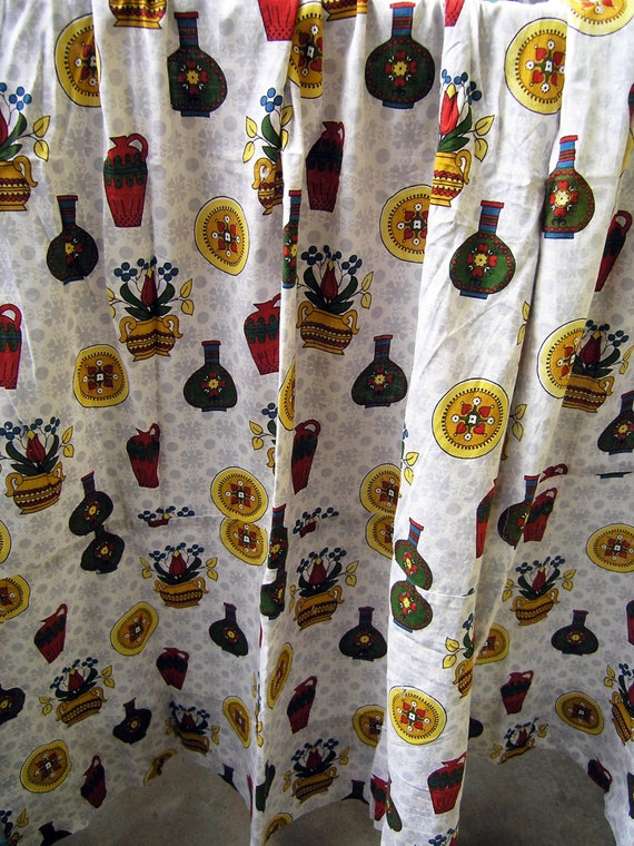 Mid Century Kitchen Curtains With Vase, Patterned Kitchen Curtains
