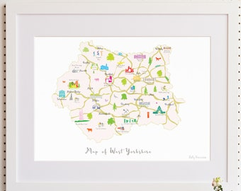Map of West Yorkshire Art Print