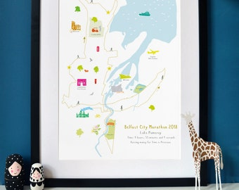 Belfast Marathon Route Map Art Print (Standard & Personalised available)