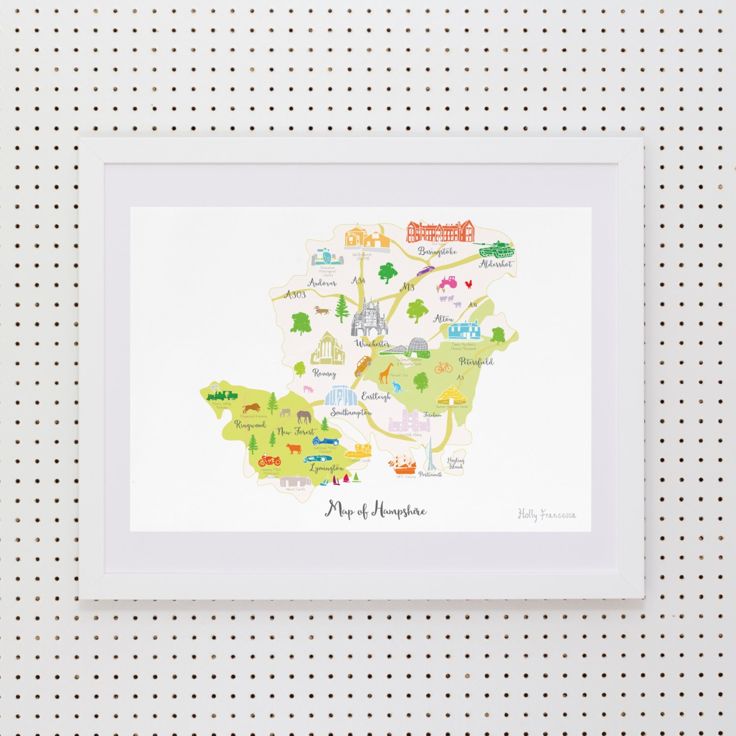 143a1d302ea Map of Hampshire Art Print