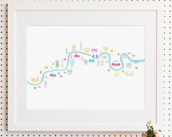 River Thames London from Thames Barrier to Chelsea Print