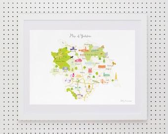 Map of Yorkshire Art Print