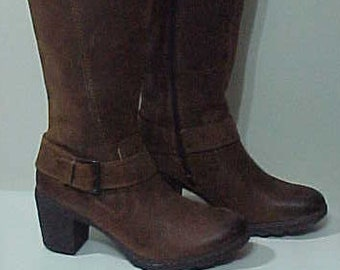 8707f5e7166 BORN B.O.C. Knee High Buckled Boots-Beautiful Vintage Oiled Leather Brown Tall  Boots-US9 EU 39.5