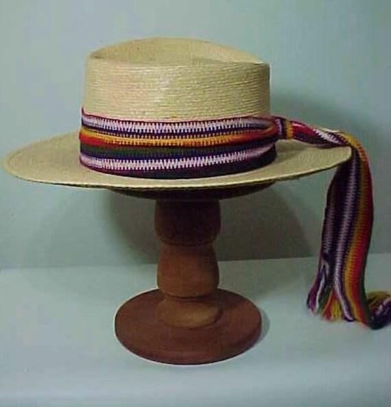 Vintage Straw Hat, Wide Brim Hat, Summer Hat, Fes… - image 1
