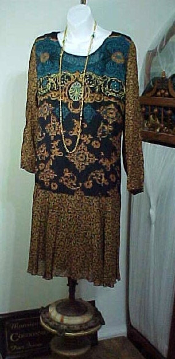 Vintage Boho Flapper Dress, Carole Little Bohemia… - image 1