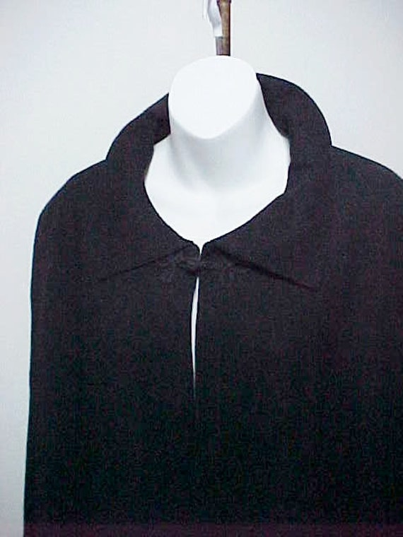 Black Cape- Worsted Wool Cape-Gothic Wrap, Traditi