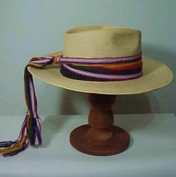 Vintage Straw Hat, Wide Brim Hat, Summer Hat, Fes… - image 2