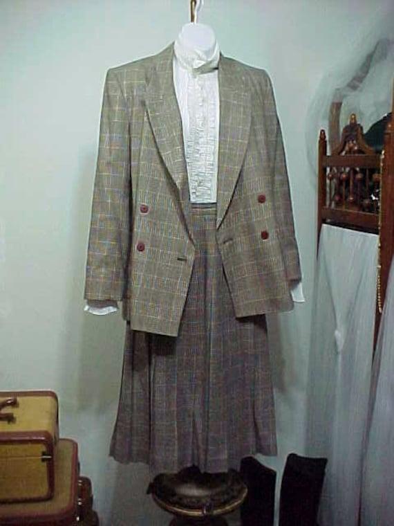 Vintage Skirt Suit, Houndstooth Plaid Skirt Suit,