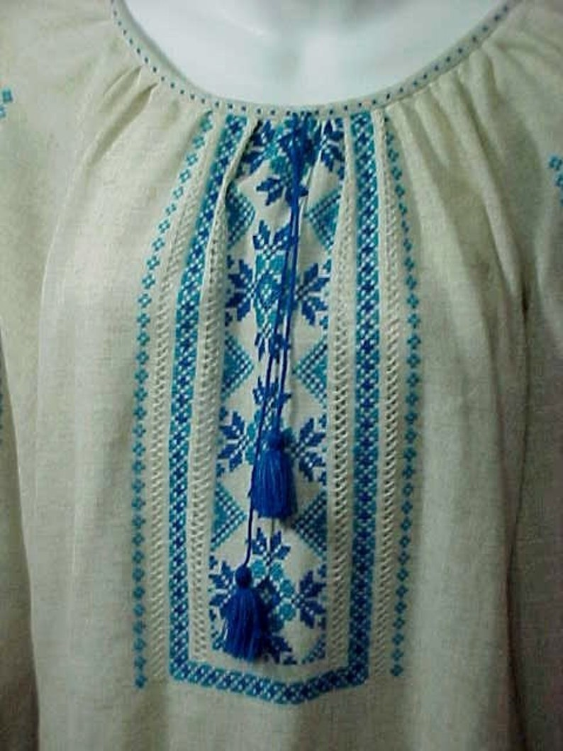 63338b6712 Embroidered Peasant Blouse Handmade Linen Embroidered Folk Art
