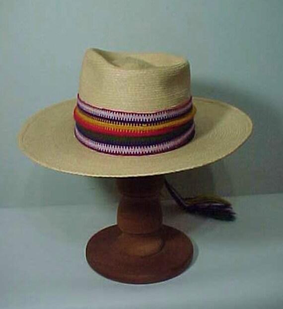 Vintage Straw Hat, Wide Brim Hat, Summer Hat, Fes… - image 3