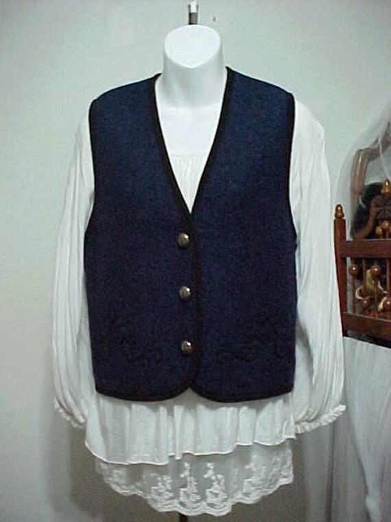 Wool Vest, Night Blue Folk Tyrolean Wool Vest, Aus