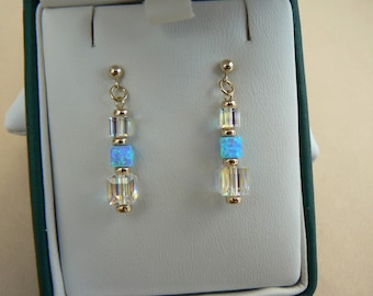 Art Deco style 9ct gold cube earrings with blue Opal & clear Aurora Borealis crystal cubes