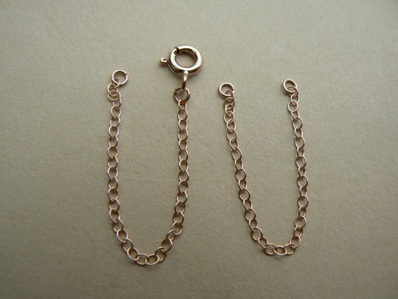STRONG 9 ct Yellow Gold Necklace Necklet Extender Safety Chain with 1 Bolt Clasp