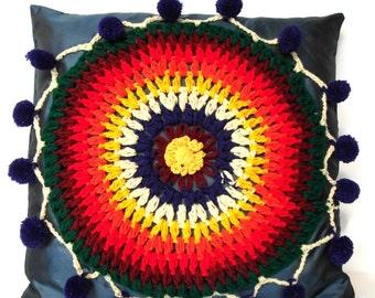 Vintage Granny square cushion cover/ Bohème gypsy Indian bohemian embroidery cushion cover/ boho home deco