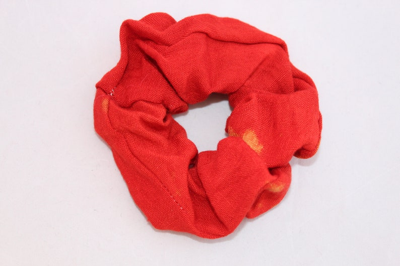 Elasticated hair scrunchie handmade red and gold coloured hair bobble up-cycled stocking filler
