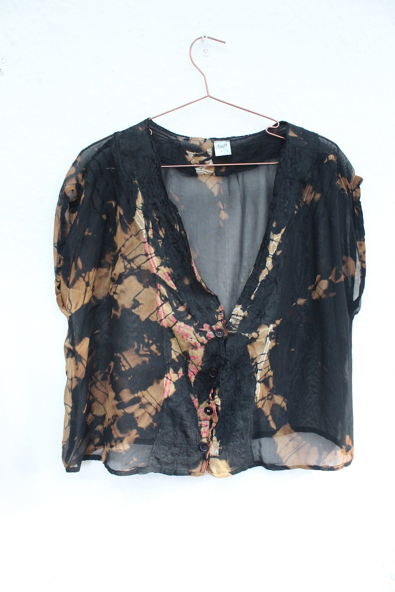 Festival,Hippie Grunge Ladies Vintage 90/'s reworked black and bronze tie dye crop chiffon blouse Party Eco gift. sleeveless sheer top