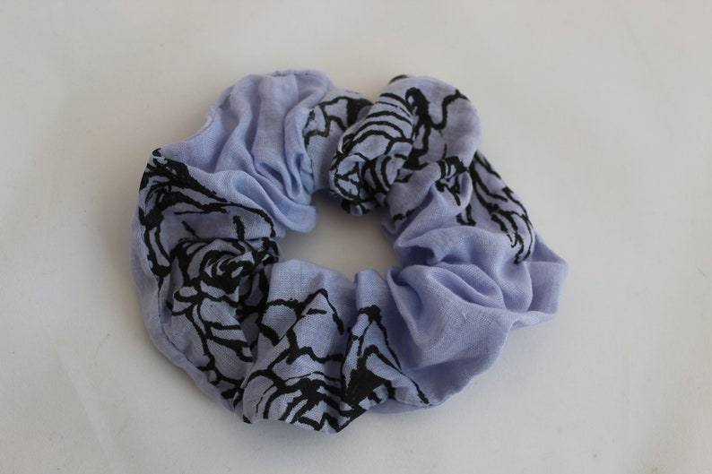 blue colour floral print Elasticated hair scrunchie stocking filler cotton fabric handmade hair accessory  handprinted up-cycled