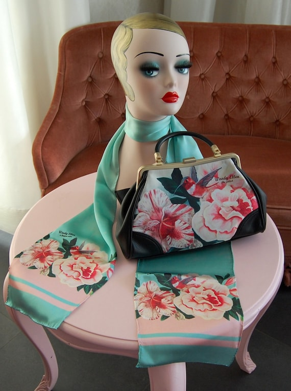 Handbag + Silk Scarf, 100% silk scarf,Honey bird bag,christmas,gift for her,gift for mom,Woody Ellen,christmas gifts,christmas gift ideas