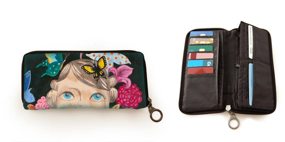 Wallet, Thoughts, sale, printed, illustrated, flowers, girl, butterflies, thoughts